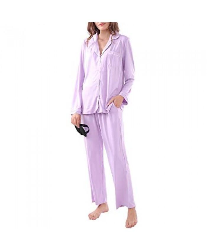 MissShorthair Women's Pajamas Set Long Sleeve Sleepwear Button Down Pjs Sets Soft Pj Nightwear XS-XXL