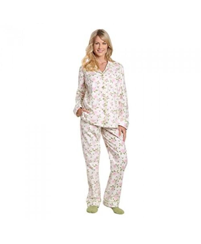 Noble Mount Women Pajamas Set - 100% Cotton Flannel Pajamas Women Warm PJs Set