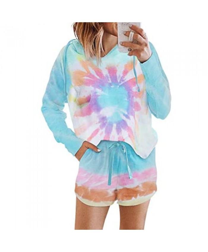 Sidefeel Women Tie Dye Pajamas Set Buttons Detail Tank Top with Shorts Sleepwear Lounge