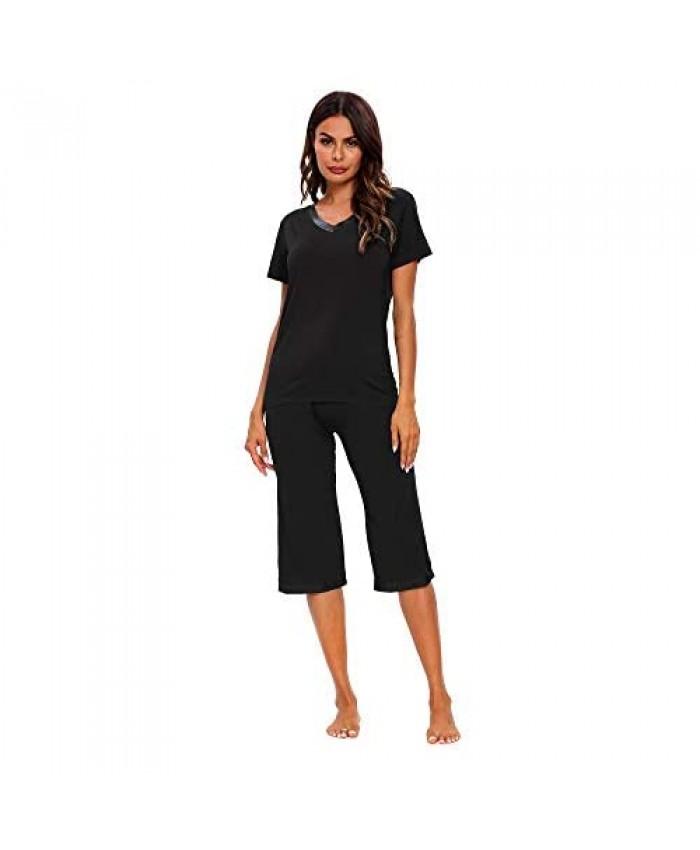 TIKTIK Womens Modal Pajama Set Comfy Sleepwear Top with Capri Pants Pjs Petite Plus Size S-4XL Black Small