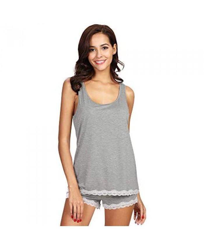 WiWi Bamboo Pajamas for Women Soft Sleeveless Tank Top with Shorts Pajama Sets Scoop Neck Lace Hem Sleepwear S-4X