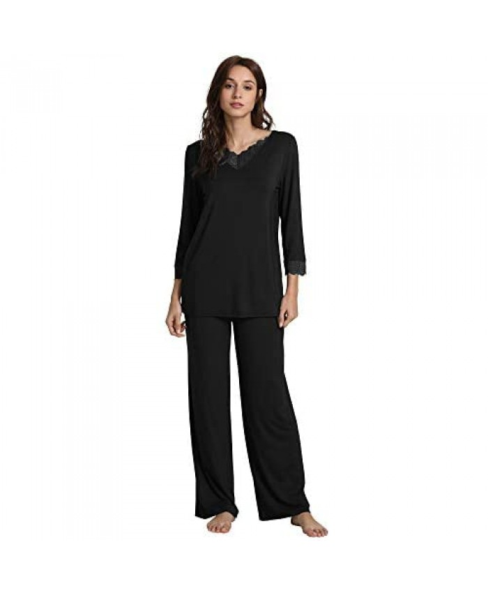 WiWi Bamboo Soft Pajamas Sets for Women Long Sleeve Sleepwear Laced V Neck Top with Pants Plus Size Loungewear S-4X