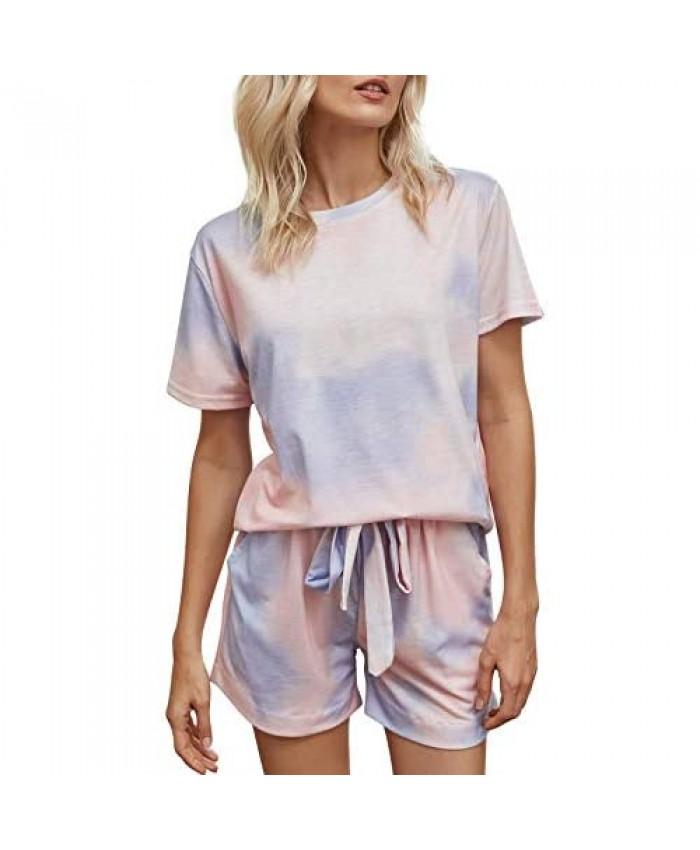 Womens Tie Dye Printed Short Lounge Set Short Sleeve Tops and Shorts 2 Piece Pajamas Set Sleepwear
