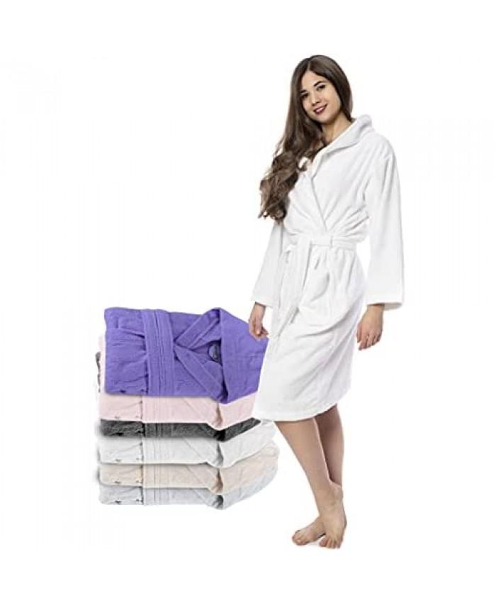 Bathrobe Women - 100% Turkish Cotton - No Chemicals Hood 2 Pockets Belt Soft Absorbent