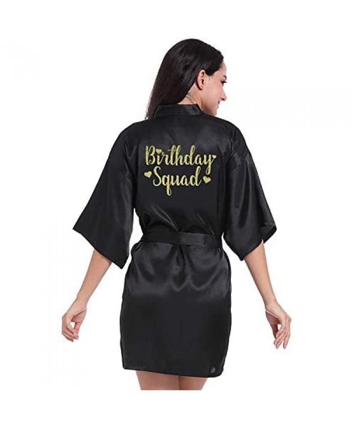 Birthday Party Robes Silk Kimono Robe with Gold Glitter Squad Queen Women's Bathrobe Nightwear Satin Short Dressing Gowns