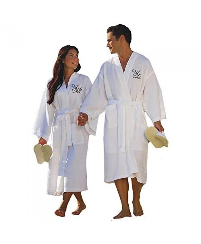 Classy Bride Mr. and Mrs. His and Her Robes for Couples Set – Couples Robes Set of 2 - Cotton Waffle Weave Robes for Bride and Groom – Perfect Anniversary Gift or Wedding Gift for Couples