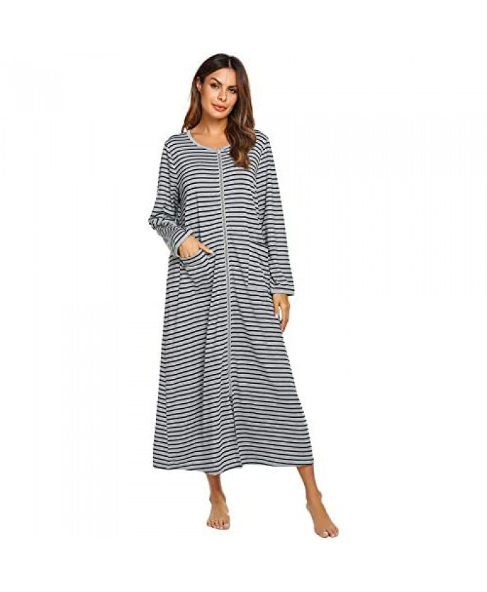 Ekouaer Women Long House Coat Zipper Front Robes Full Length Nightgowns with Pockets Striped Loungewear