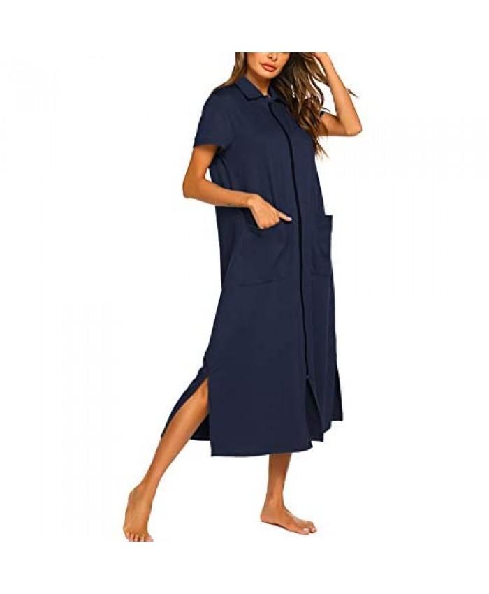 Ekouaer Women Zipper Robe Short Sleeve House Dress Full Length Sleepwear Duster Housecoat with Pockets S-XXL