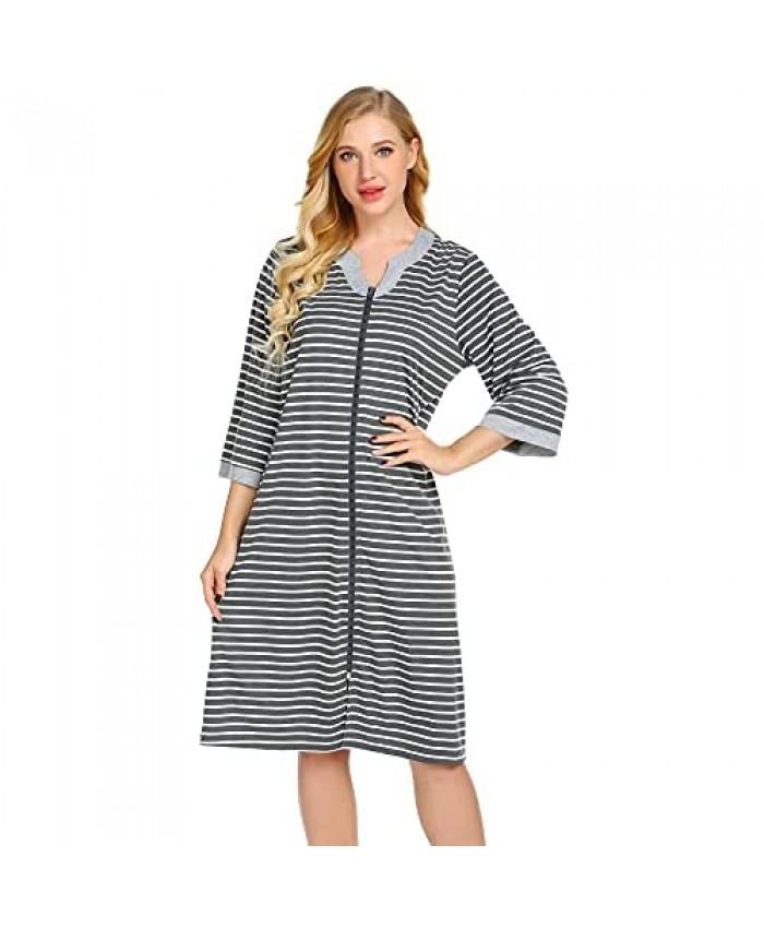 Ekouaer Women Zipper Robe Soft Lightweight Bathrobe 3/4 Sleeve Pockets Housecoat