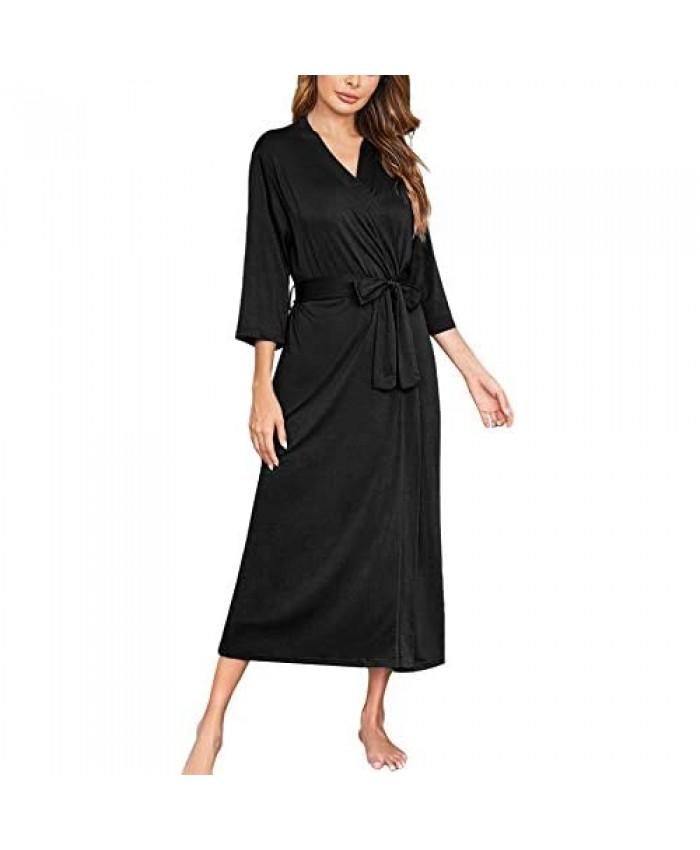 Ekouaer Womens Robes Lightweight Cotton Robe Soft Sleepwear Ladies Loungewear Dressing Gown Long Bathrobe