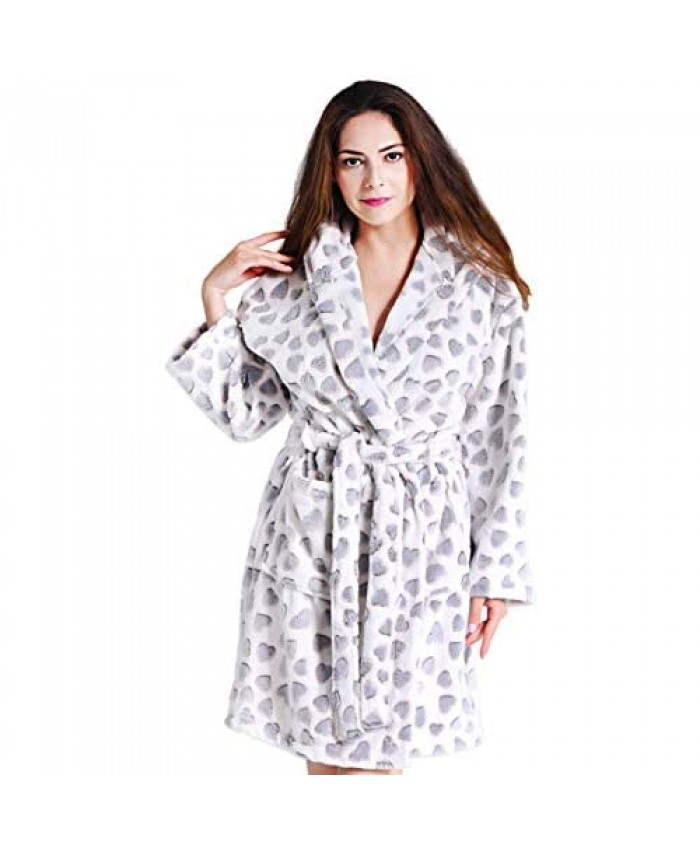 Findoux Short Robes for Women with Plush Cozy Fleece Robe with Hood Soft Comfy Warm Printed Bathrobe (Love