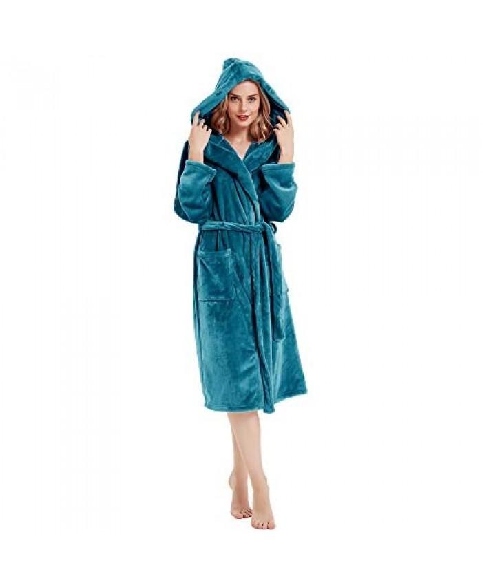 HOLOVE Women Hooded Fleece Robes Warm Plush Terry Cloth Bathrobe Spa Nightwear