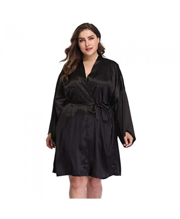 iFigure Women's Plus Size Satin Robes Short Dressing Gown Party Robes