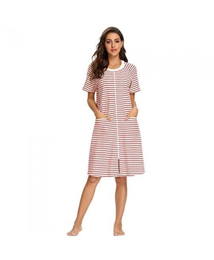 IZZY + TOBY Womens Zipper Robe Short Sleeve Striped Nightgown Long House Coat with Pockets Lightweight Sleepwear