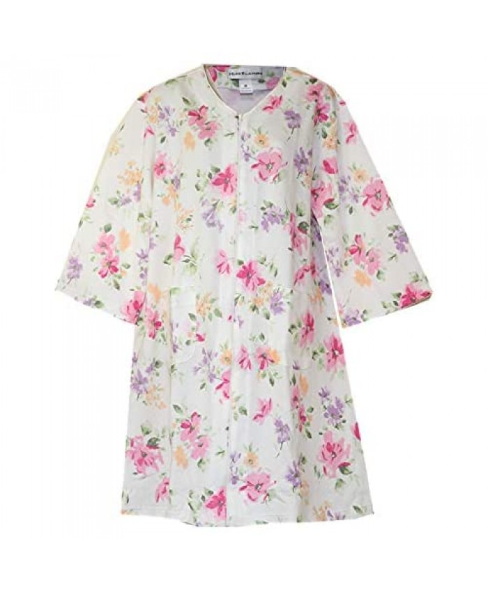 Miss Elaine Quilt-in-Knit Floral Print Zip-Front Short Robe