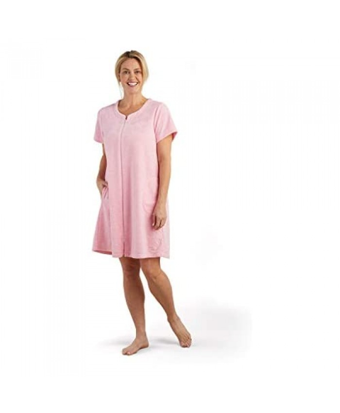 Miss Elaine Robe - Women's Terrycloth Short Robe Short Sleeves and Two Side Pockets Terry Zip Front