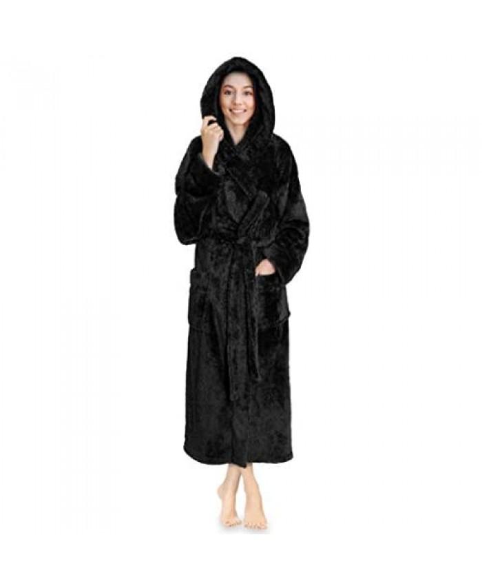 PAVILIA Women Hooded Plush Soft Robe | Fluffy Warm Fleece Sherpa Shaggy Bathrobe