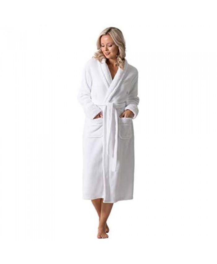 Robe Direct Bath Robe for Women - Ankle-Length Plush Soft Warm Fleece Ladies Bathrobe with Belt