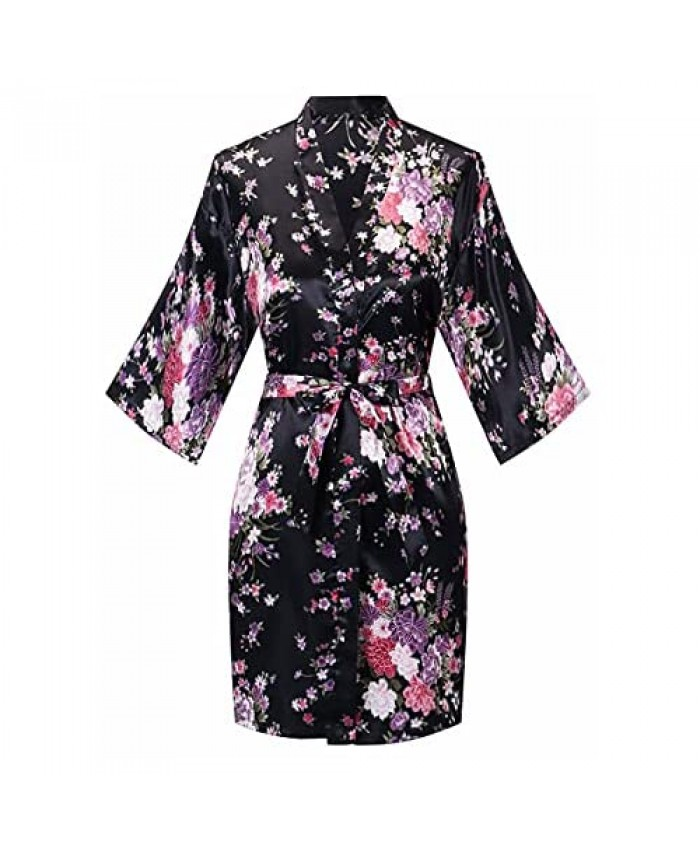 Robes for Women Lightweight Long Sleeve Bathrobe Knee-Length Spa Robe Cherry Blossoms Embroidered with Belt
