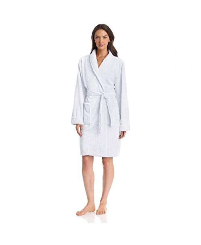 Seven Apparel Hotel Spa Collection Popcorn Jacquard Bath Robe One Size White