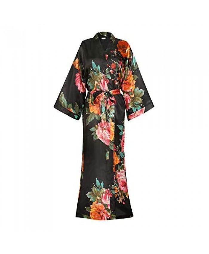 Silky Satin Robe for Women Long - Bridal Bridesmaid Kimonos Robes Lightweight Sleepwear Dressing Gown
