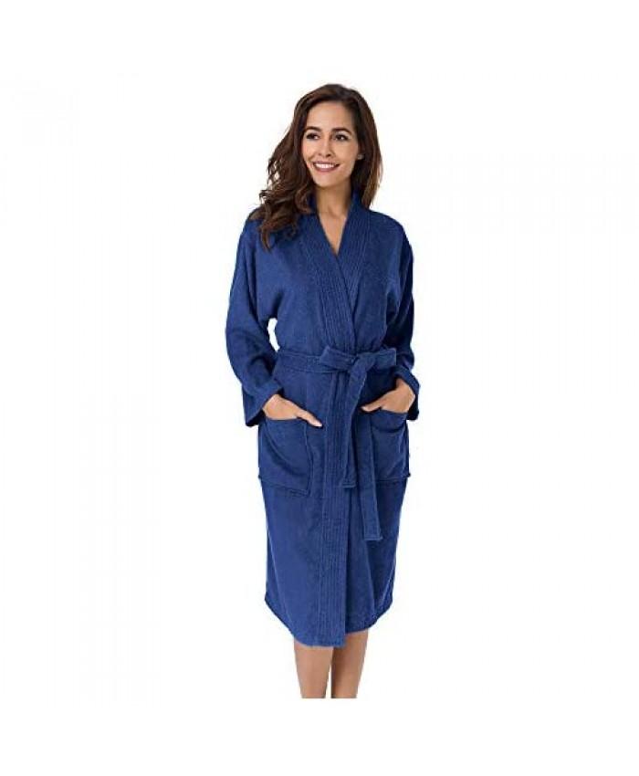 SIORO Women's Terry Cloth Robes Cotton Kimono Bathrobe Calf Length Lightweight Soft Sleepwear for Spa Shower Hot Tub