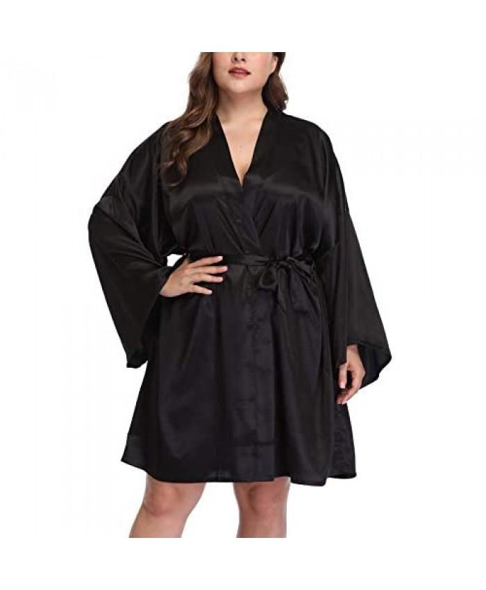 Women's Plus Size Satin Robes Short Silky Bathrobes Wedding Party Dressing Gown