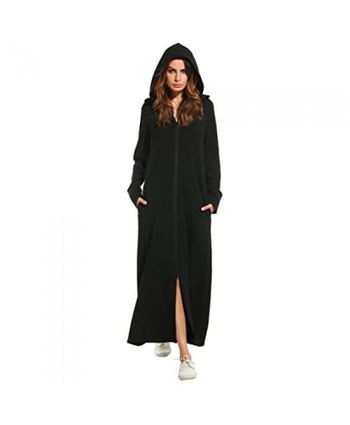 Zeagoo Womens Zip Long Robe Full Length Sweatshirt Hoodie Zipper Front Cardigan Jacket with Pockets