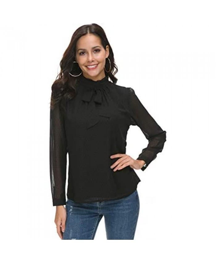 ACONIYA Womens Bow Tie Neck Spring/Summer Long/Short Sleeve Blouse Office Work Chiffon Elegant Casual Shirt Tops