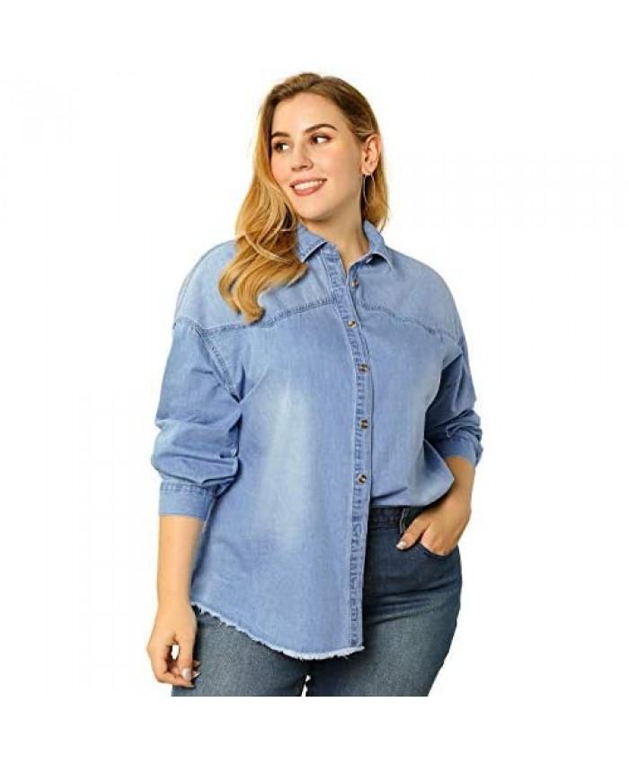 Agnes Orinda Women's Plus Size Shirts Button Down Shirt Work Cotton Casual Denim Jackets
