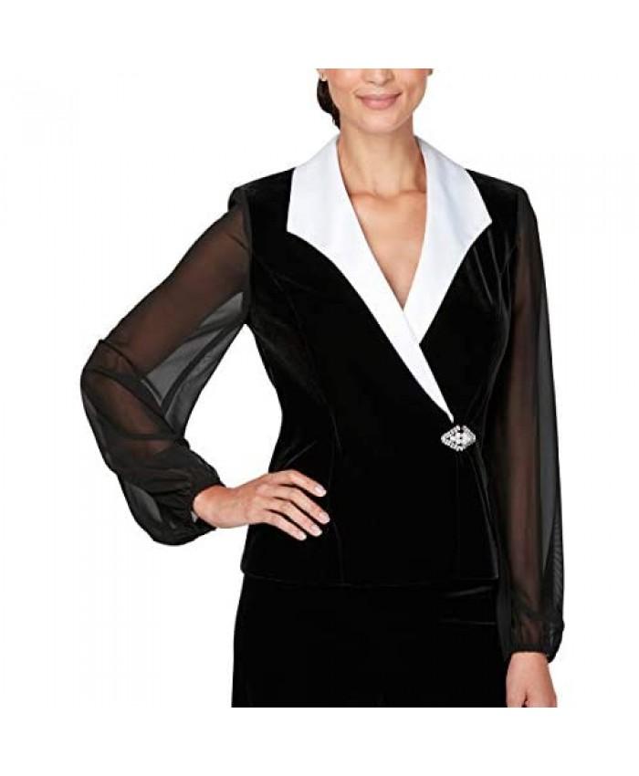 Alex Evenings Women's Velvet Blouse Top (Multiple Styles Petite and Regular Sizes)