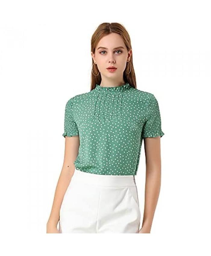 Allegra K Women's Polka Dots Smocked Sleeves Ruffle Neck Blouse Top