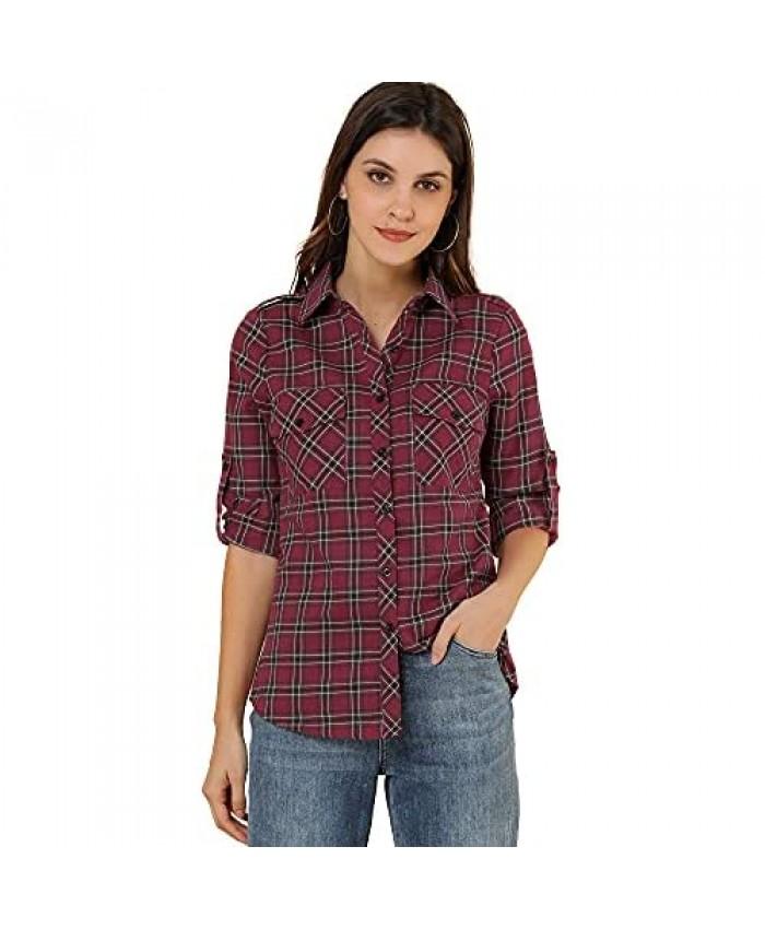 Allegra K Women's Roll Up Sleeves Button Down Vintage Tantan Buffalo Plaid Shirt