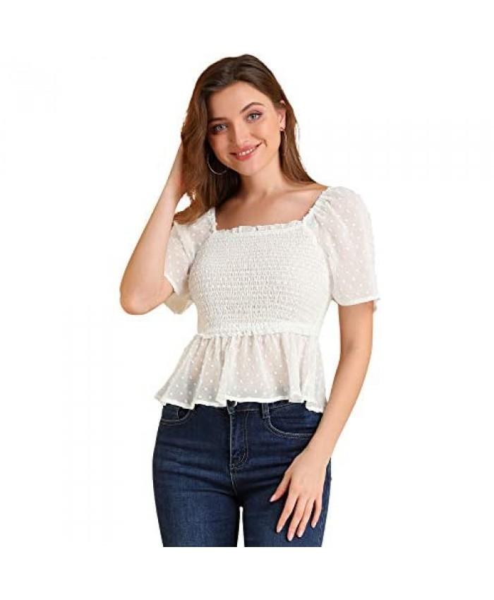 Allegra K Women's Ruffle Square Neck Peplum Top Short Sleeve Swiss Dots Smocked Blouse