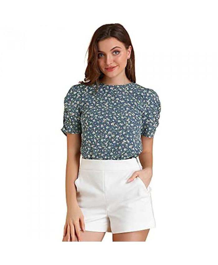 Allegra K Women's Shirred Short Sleeve Casual Floral Top
