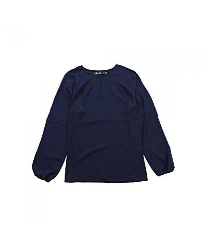 Allegra K Women's Work Office Chiffon Shirt Semi Sheer Long Sleeves Keyhole Neck Elegant Blouse Top