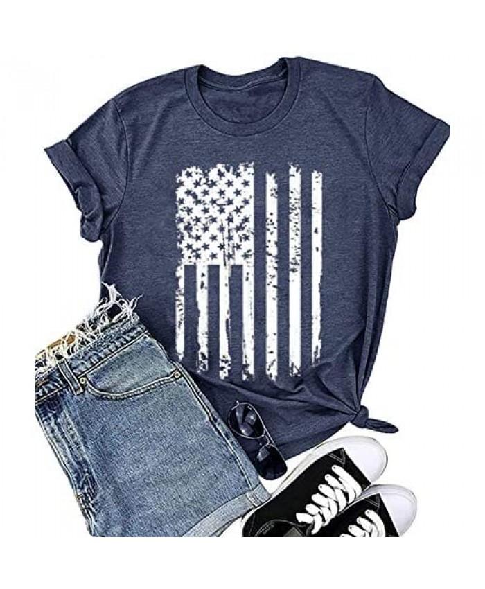 American Flag Shirt Women 4th of July Gift Patriotic Shirt Stars and Stripes Flag Print Tees Tops T-Shirt Blouse