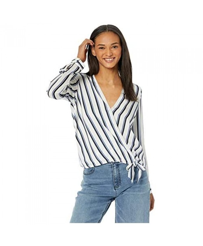 BB DAKOTA Women's Across My Heart Stripe Printed Reverse Crepon Top