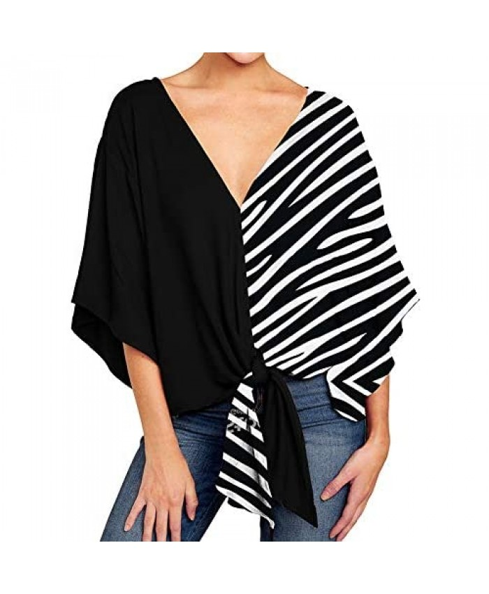 Ckikiou Womens Plus Size V Neck Knot Tie Front Blouses Tops Loose 3/4 Batwing Sleeve Shirts