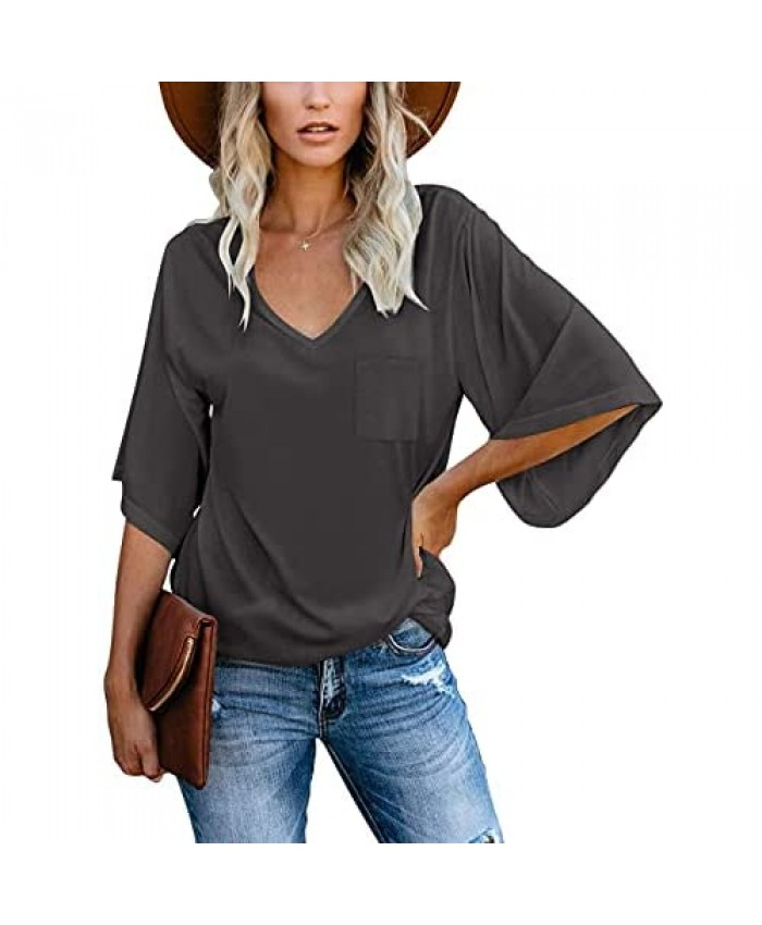 cordat Women's Blouse Summer Tops Loose V Neck Bust Pocket 3/4 Bell Sleeve T-Shirt