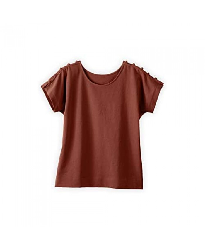 Fair Indigo Fair Trade Organic Button Sleeve Top