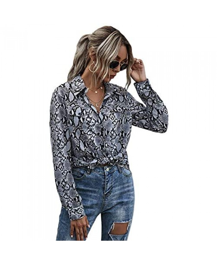 Floerns Women's Long Sleeve Button Down Snakeskin Print Blouse Tops