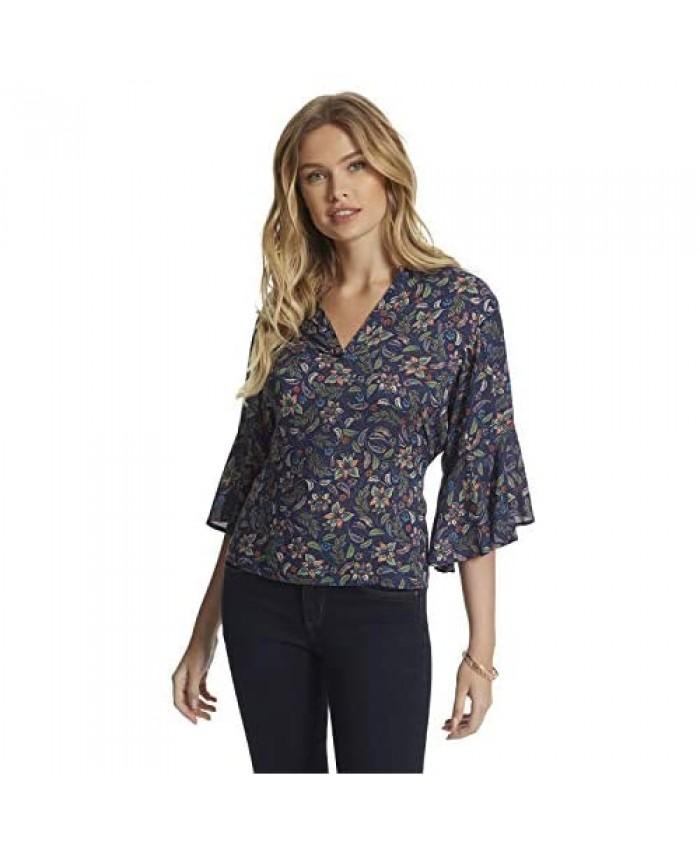 Jessica Simpson Women's Tulle Wide Flutter Sleeve Blouse