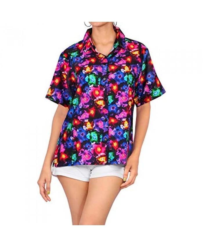 LA LEELA Womens Relaxed Hawaii Blouse Shirt Premium Casual Dress Shirt Printed A