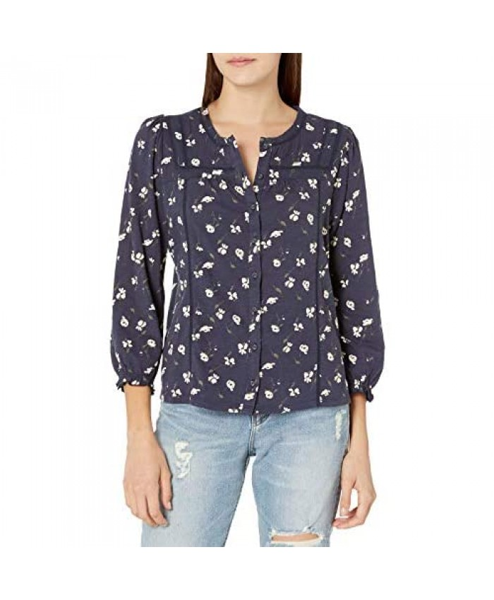 Lucky Brand Women's Puff Sleeve Buttoned Neck Printed -Knit Top