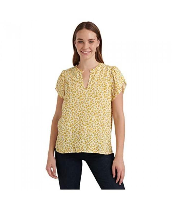 Lucky Brand Women's Tulip Sleeve Crew Neck Printed Top