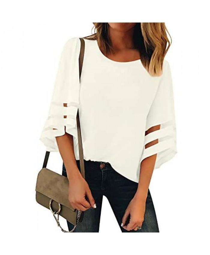 luvamia Women Casual Crewneck Top 3/4 Bell Sleeve Mesh Panel Shirts Loose Blouse