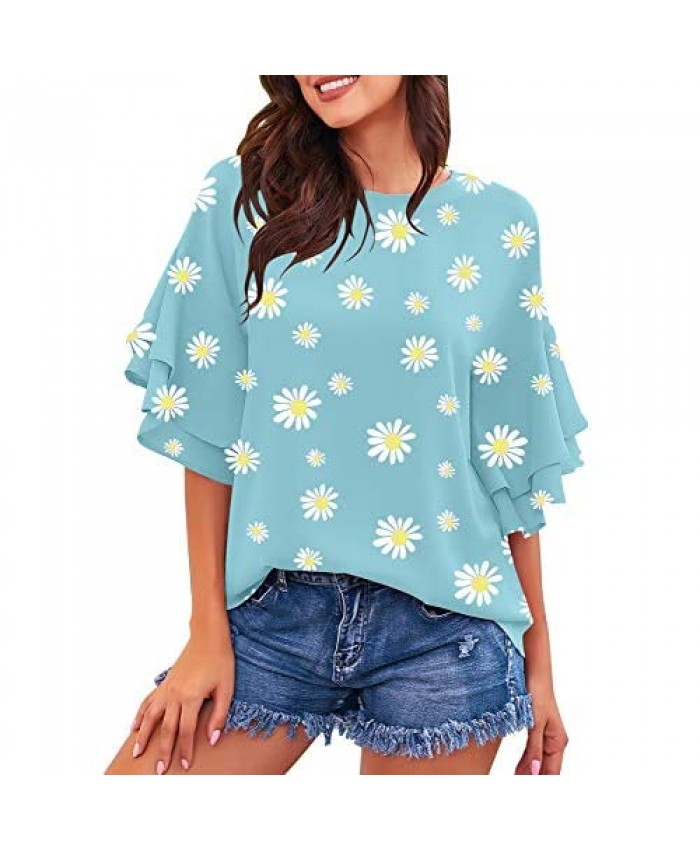 luvamia Women's Casual Crewneck Blouse 3/4 Tiered Bell Sleeve Loose Tops Shirt