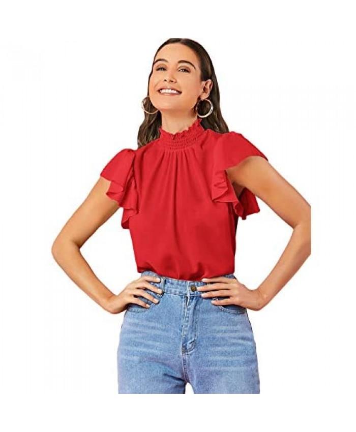 MakeMeChic Women's Casual Mock Neck Solid Ruffle Short Sleeve Blouse Tops