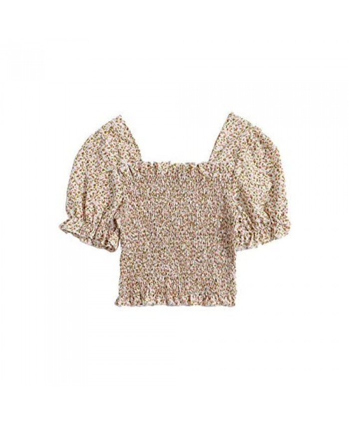 MakeMeChic Women's Ditsy Floral Square Neck Short Sleeve Blouse Crop Tops